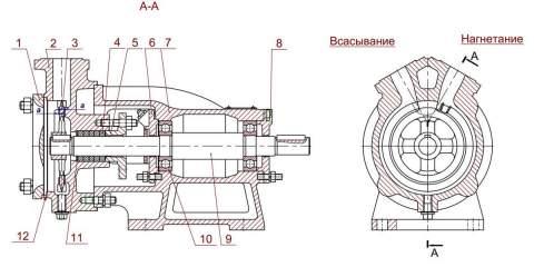 Насос 5/24А-2Г (11 кВт) в разрезе